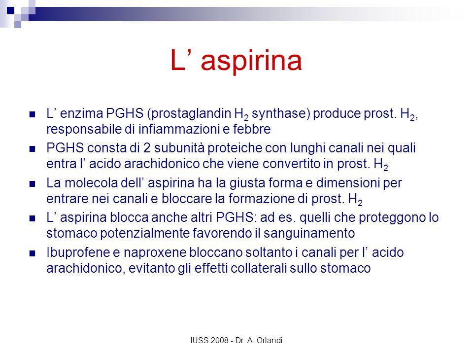 L' aspirina L' enzima PGHS (prostaglandin H2 synthase) produce prost. H2, responsabile di infiammazioni e febbre.