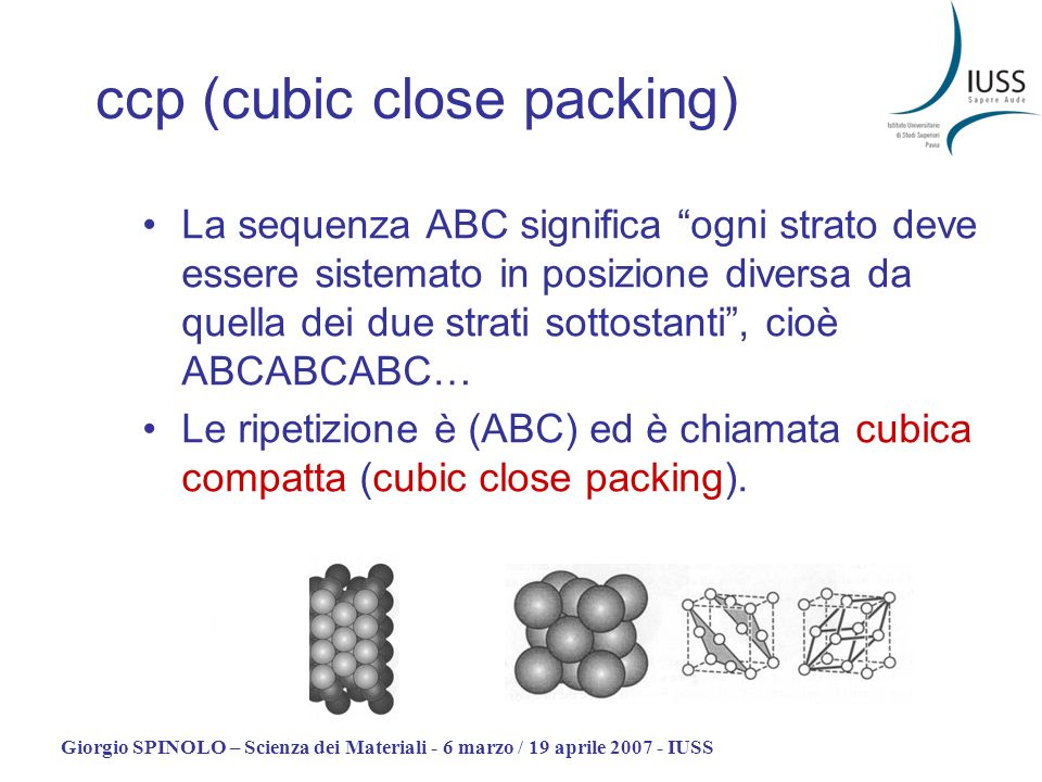 ccp (cubic close packing)