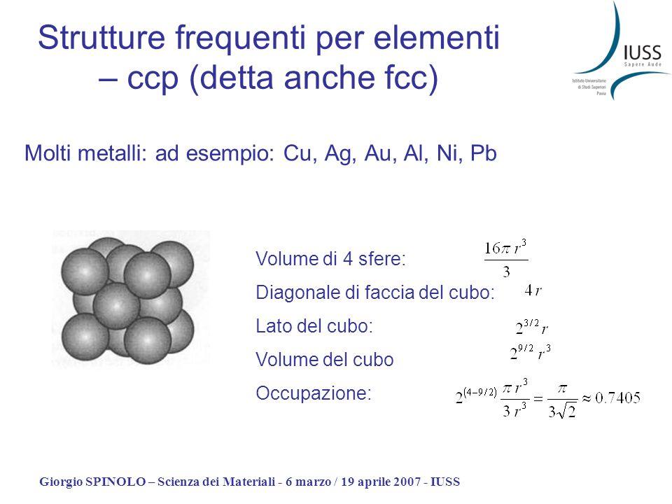 Strutture frequenti per elementi – ccp (detta anche fcc)