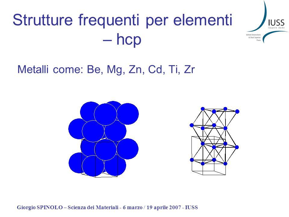 Strutture frequenti per elementi – hcp