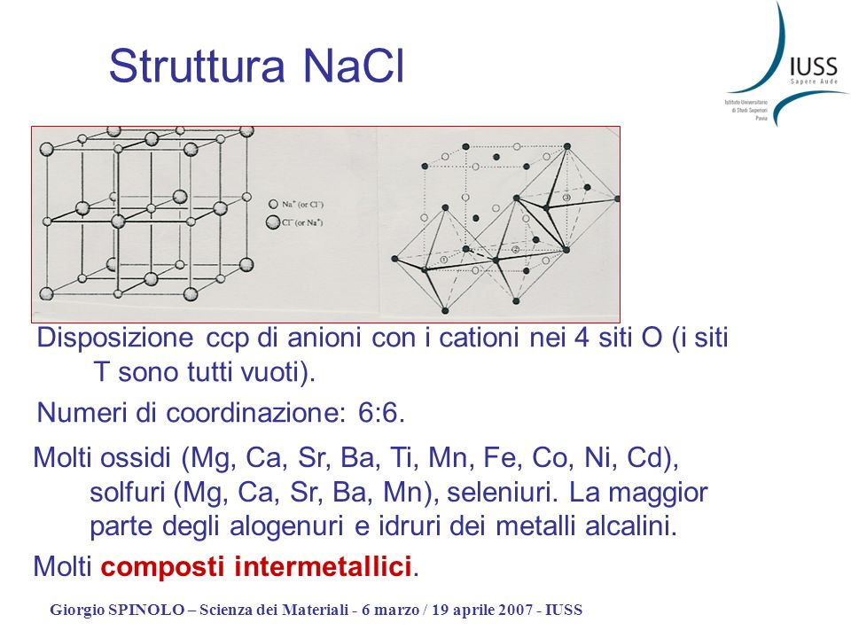 Struttura NaCl Disposizione ccp di anioni con i cationi nei 4 siti O (i siti T sono tutti vuoti). Numeri di coordinazione: 6:6.