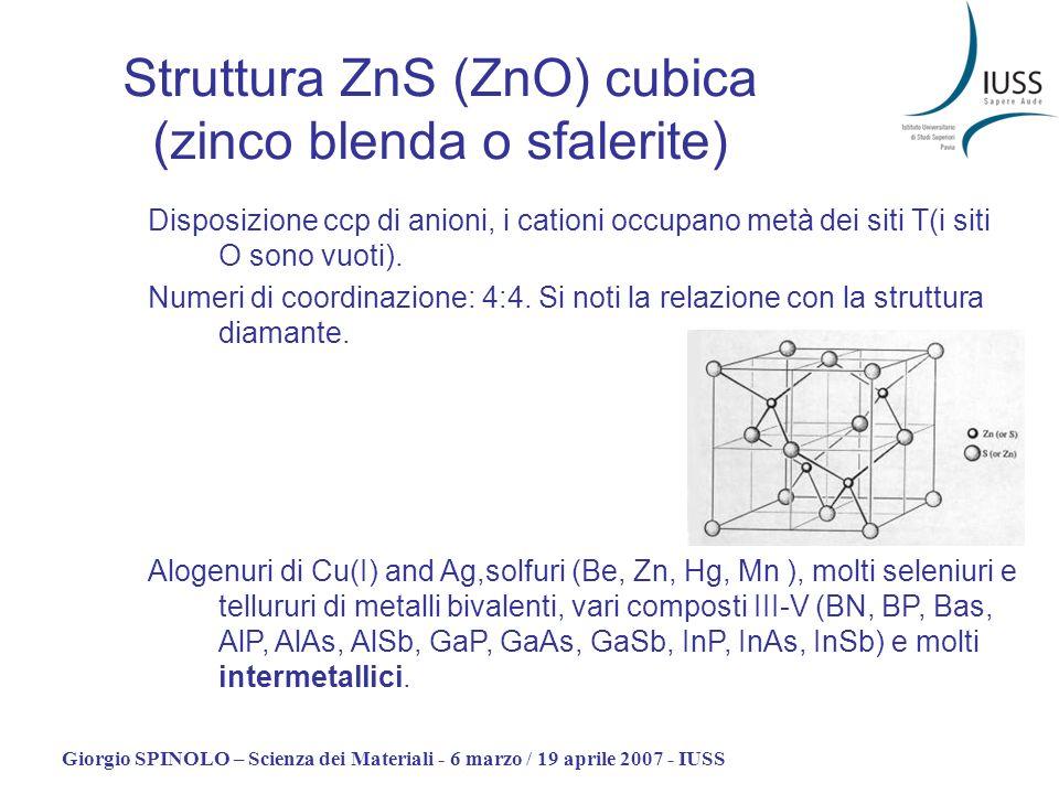 Struttura ZnS (ZnO) cubica (zinco blenda o sfalerite)