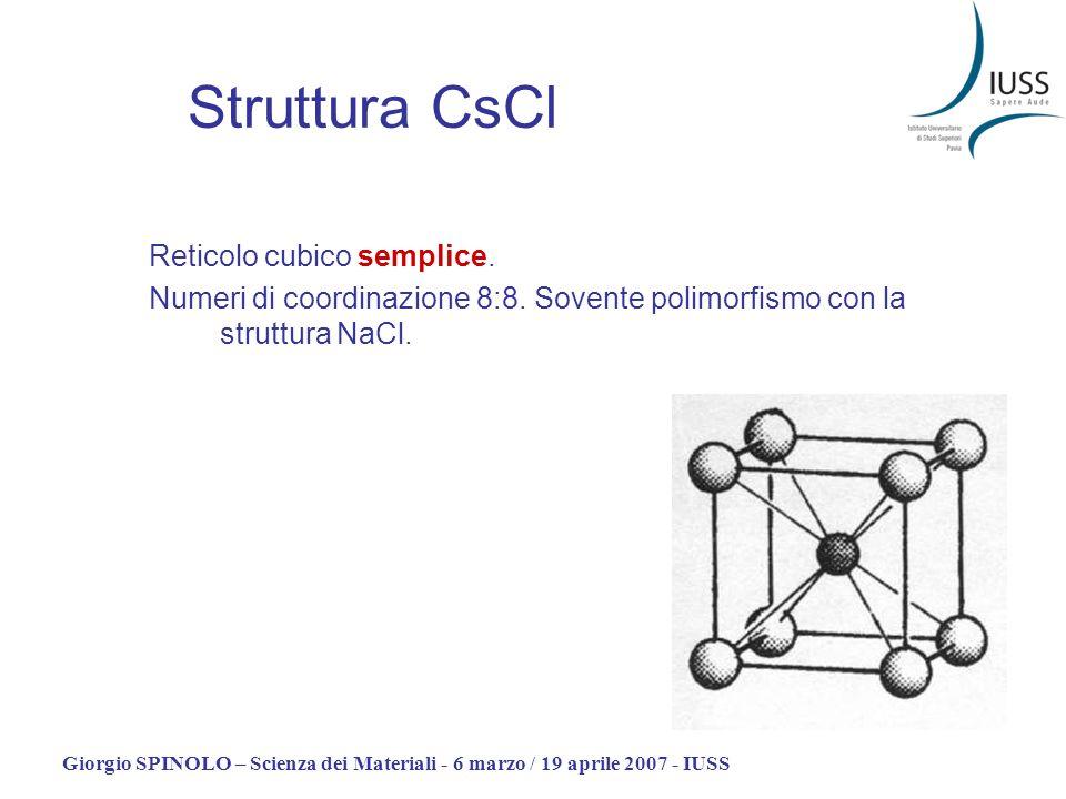 Struttura CsCl Reticolo cubico semplice.