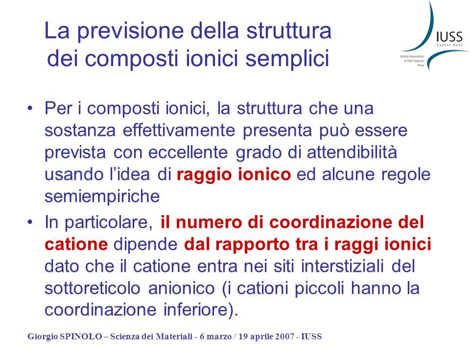La previsione della struttura dei composti ionici semplici