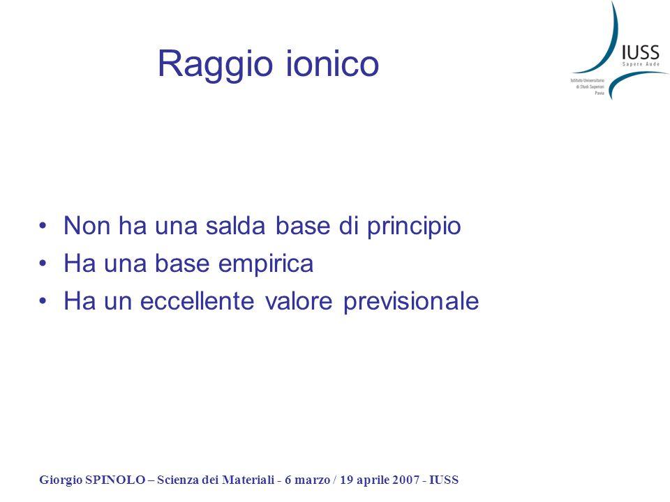 Raggio ionico Non ha una salda base di principio Ha una base empirica
