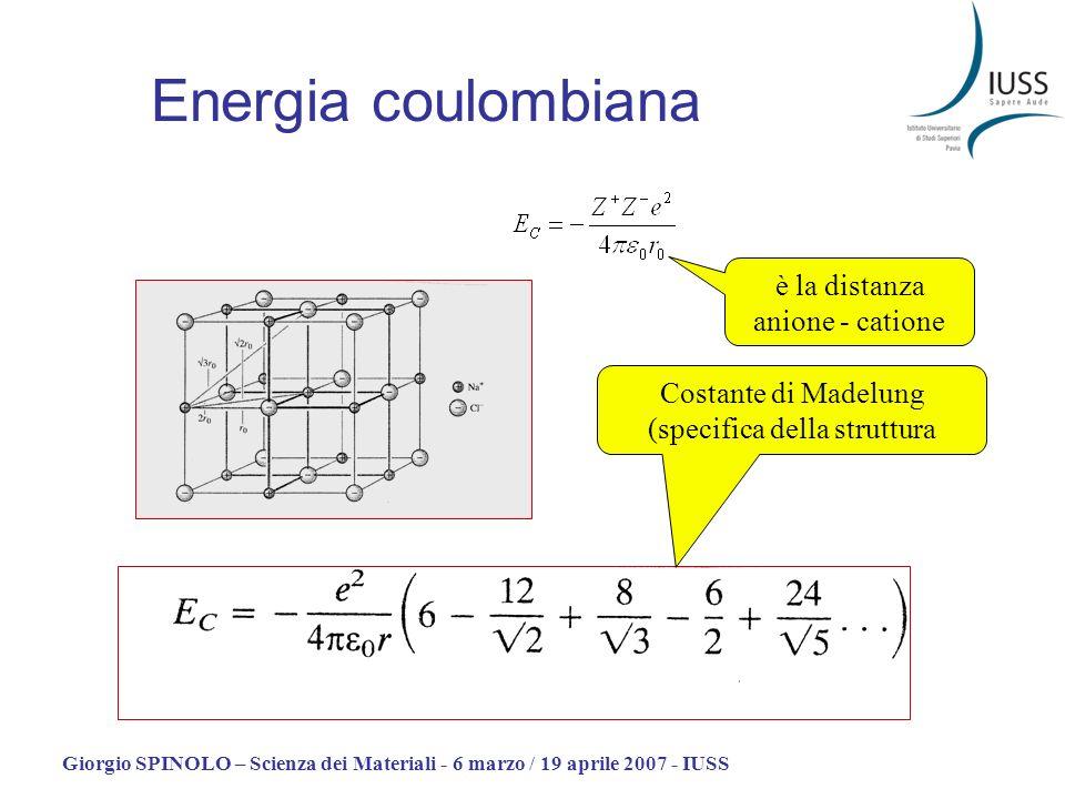 Energia coulombiana è la distanza anione - catione