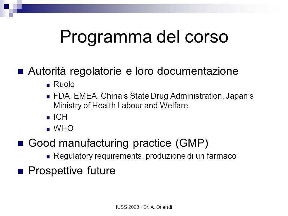 Programma del corso Autorità regolatorie e loro documentazione