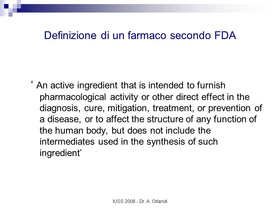 Definizione di un farmaco secondo FDA