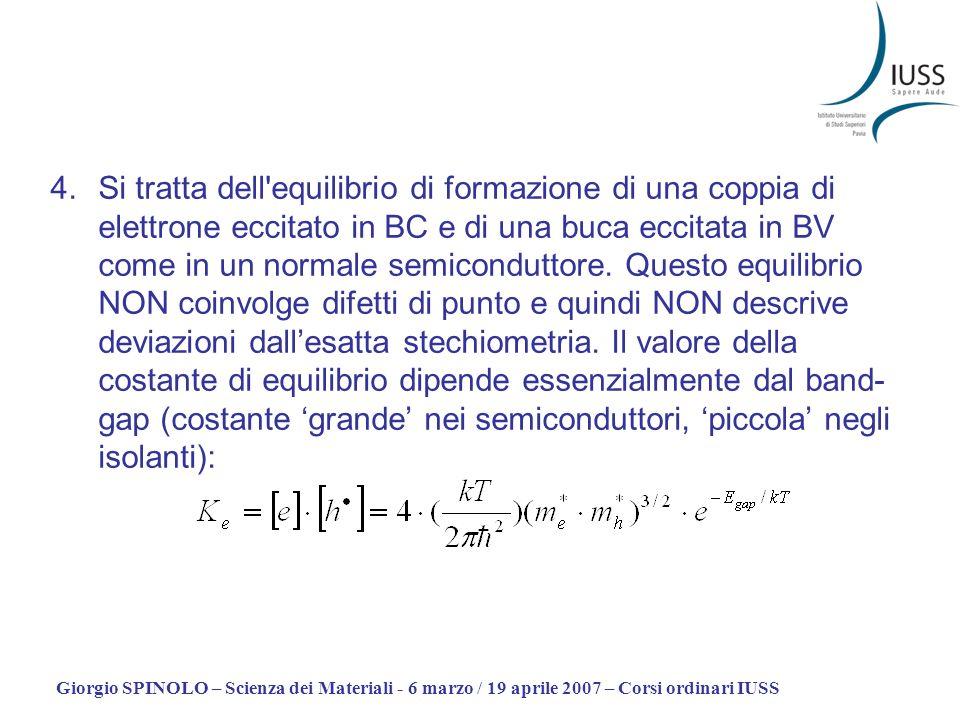 Si tratta dell equilibrio di formazione di una coppia di elettrone eccitato in BC e di una buca eccitata in BV come in un normale semiconduttore. Questo equilibrio NON coinvolge difetti di punto e quindi NON descrive deviazioni dall'esatta stechiometria. Il valore della costante di equilibrio dipende essenzialmente dal band-gap (costante 'grande' nei semiconduttori, 'piccola' negli isolanti):