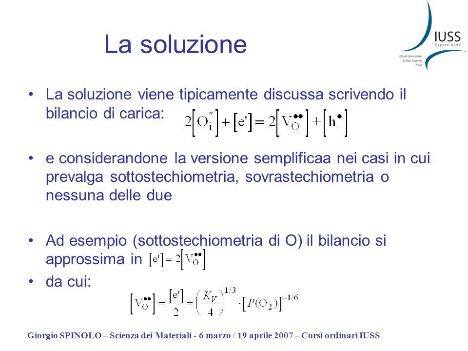 La soluzioneLa soluzione viene tipicamente discussa scrivendo il bilancio di carica: