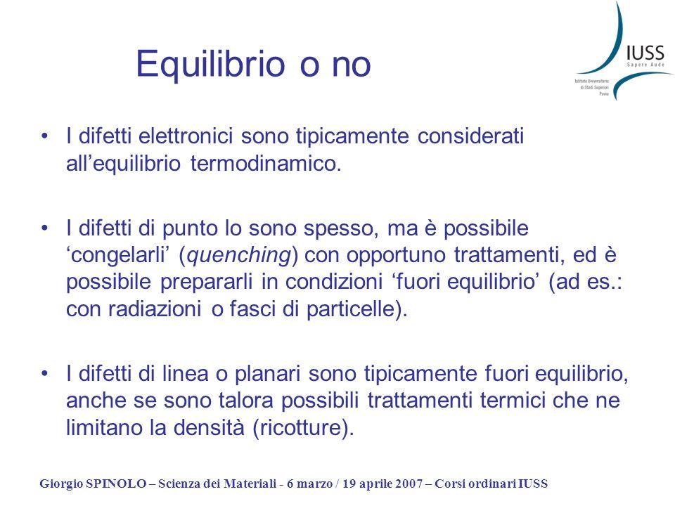 Equilibrio o no I difetti elettronici sono tipicamente considerati all'equilibrio termodinamico.