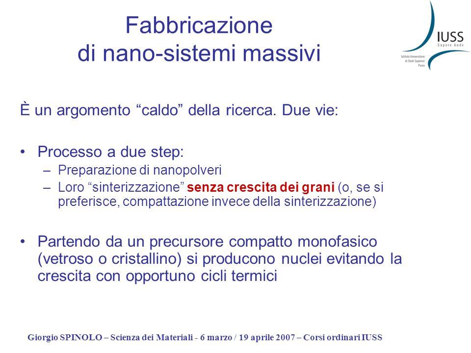 Fabbricazione di nano-sistemi massivi