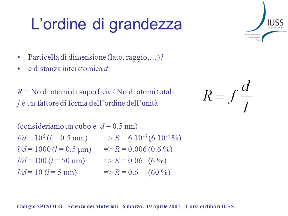 L'ordine di grandezza Particella di dimensione (lato, raggio,…) l