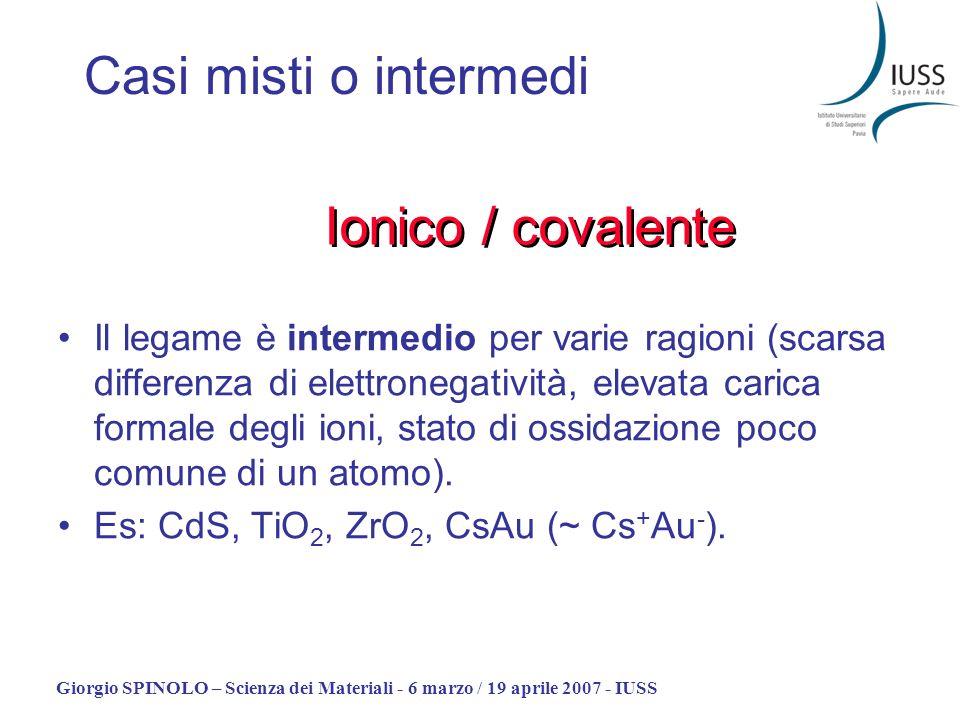 Casi misti o intermedi Ionico / covalente