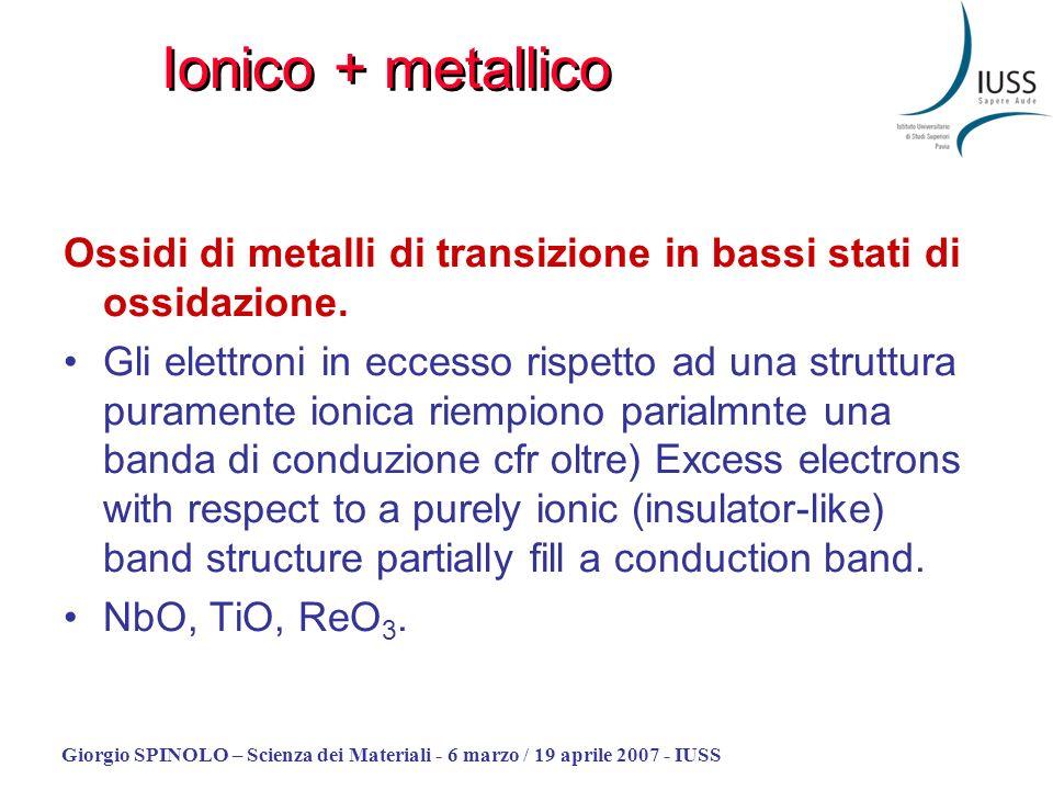 Ionico + metallico Ossidi di metalli di transizione in bassi stati di ossidazione.