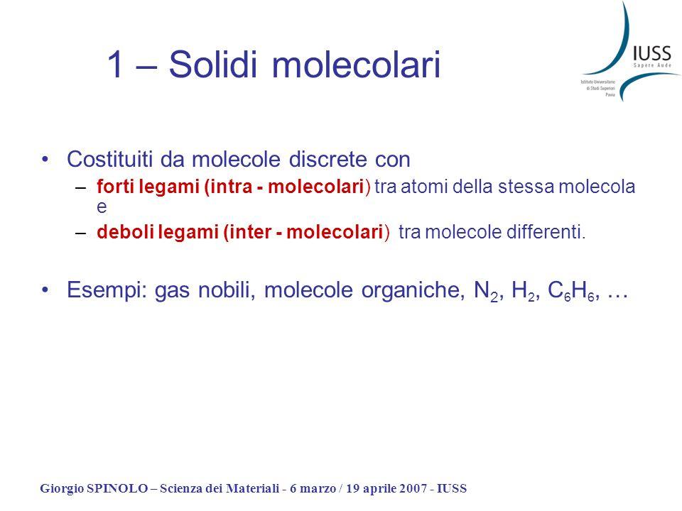 1 – Solidi molecolari Costituiti da molecole discrete con