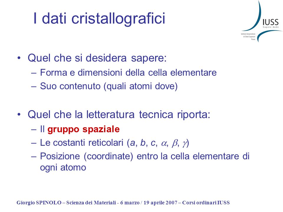I dati cristallografici