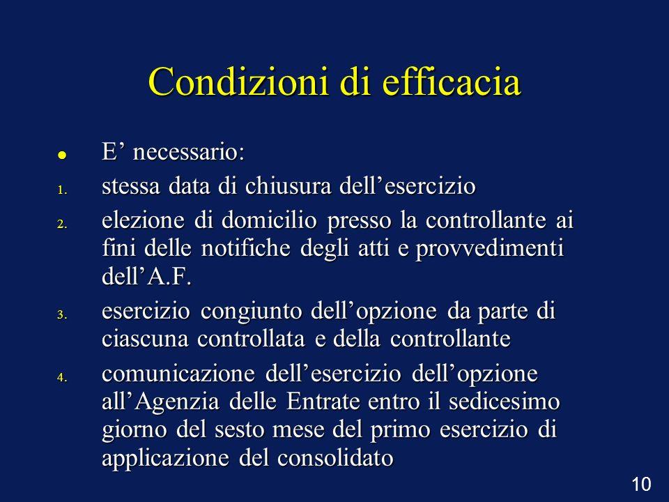Condizioni di efficacia