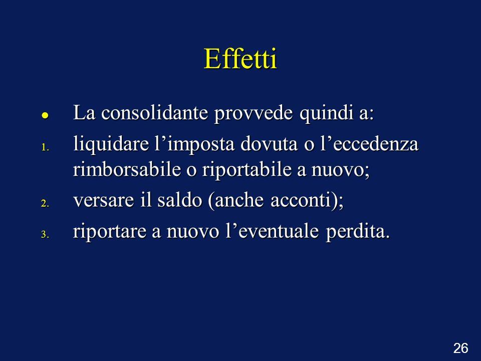 Effetti La consolidante provvede quindi a: