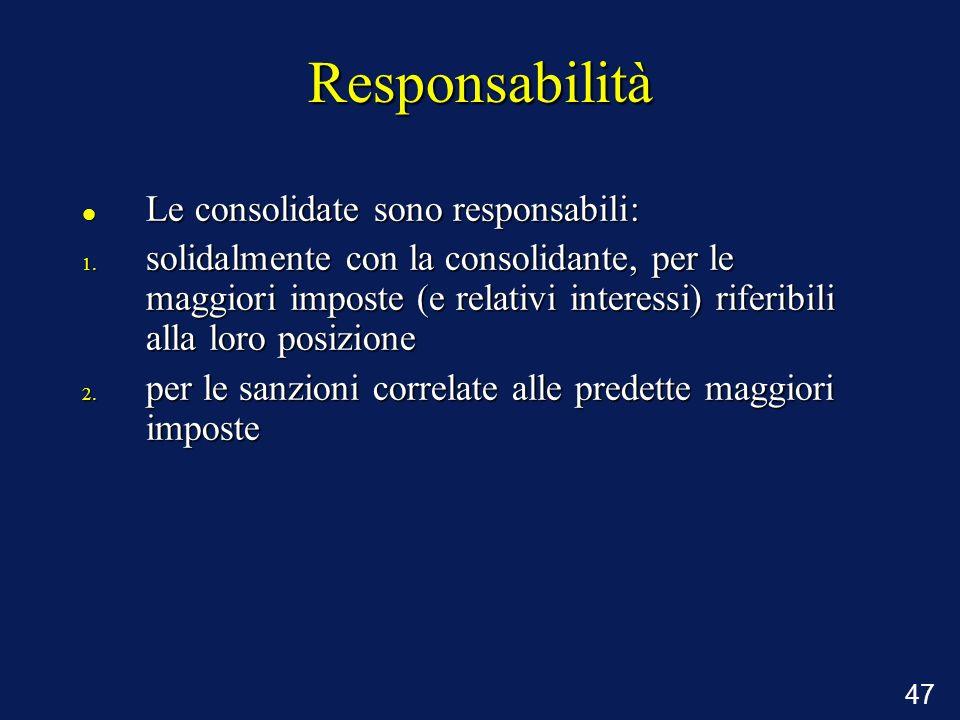Responsabilità Le consolidate sono responsabili: