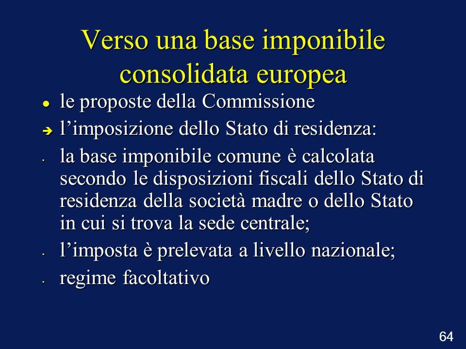 Verso una base imponibile consolidata europea