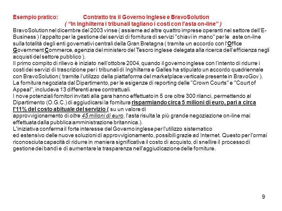 Esempio pratico: Contratto tra il Governo Inglese e BravoSolution