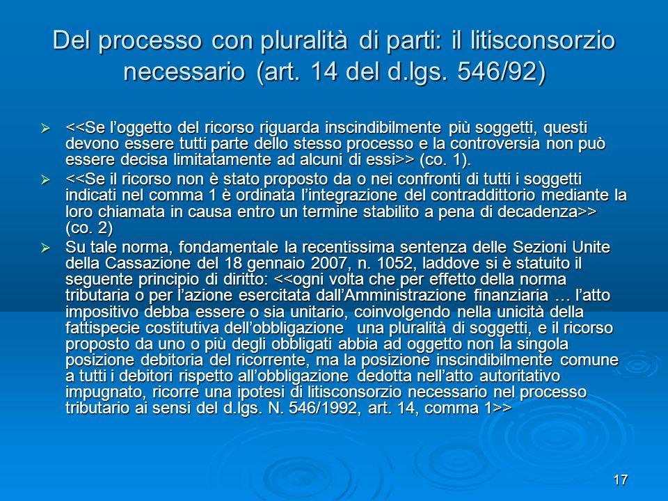 Del processo con pluralità di parti: il litisconsorzio necessario (art