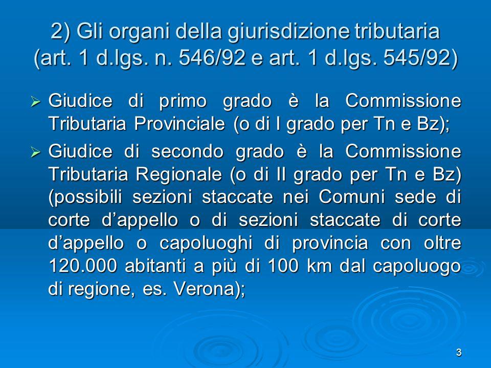 2) Gli organi della giurisdizione tributaria (art. 1 d. lgs. n