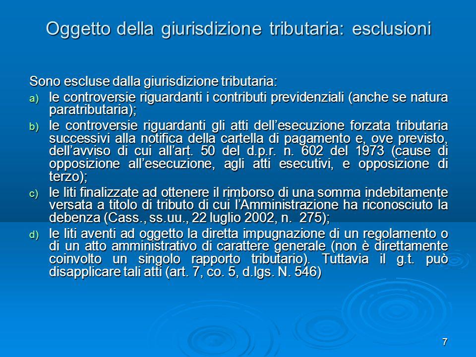 Oggetto della giurisdizione tributaria: esclusioni
