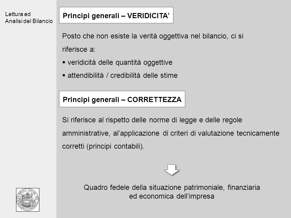 Principi generali – VERIDICITA' Principi generali – CORRETTEZZA