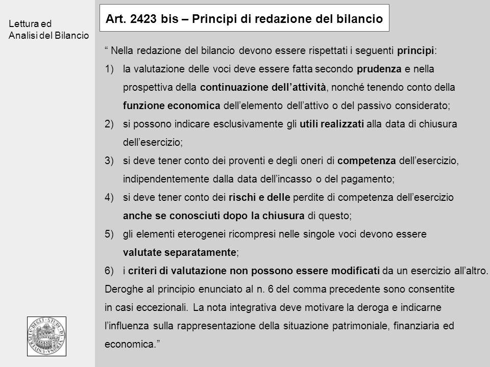 Art. 2423 bis – Principi di redazione del bilancio