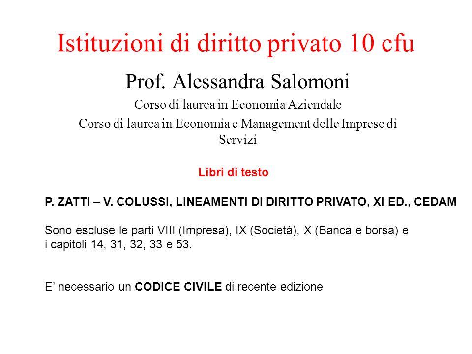 Istituzioni di diritto privato 10 cfu