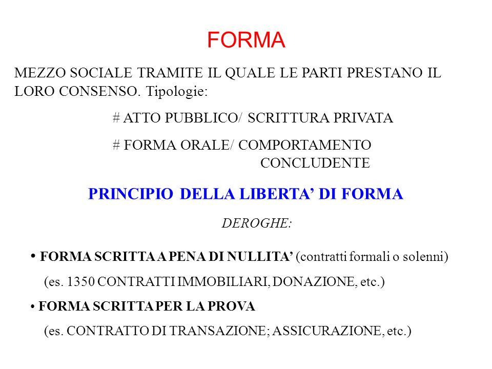 PRINCIPIO DELLA LIBERTA' DI FORMA