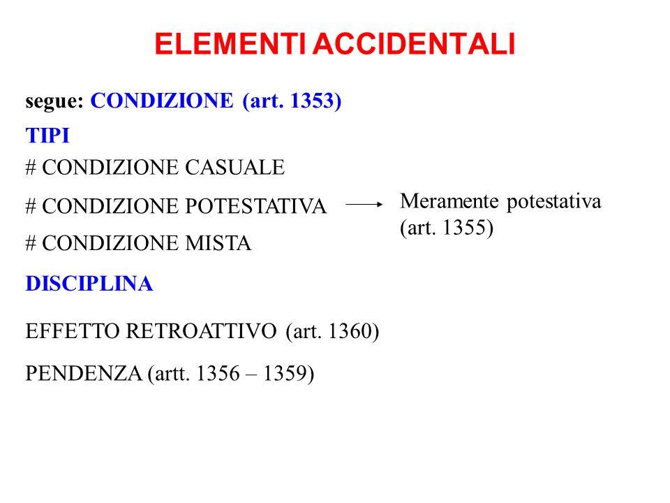 ELEMENTI ACCIDENTALI segue: CONDIZIONE (art. 1353) TIPI