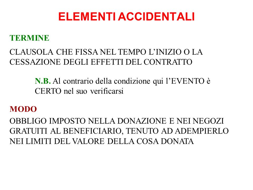 ELEMENTI ACCIDENTALI TERMINE