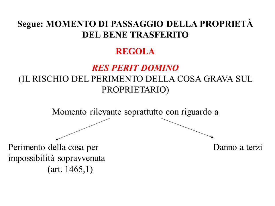 Segue: MOMENTO DI PASSAGGIO DELLA PROPRIETÀ DEL BENE TRASFERITO