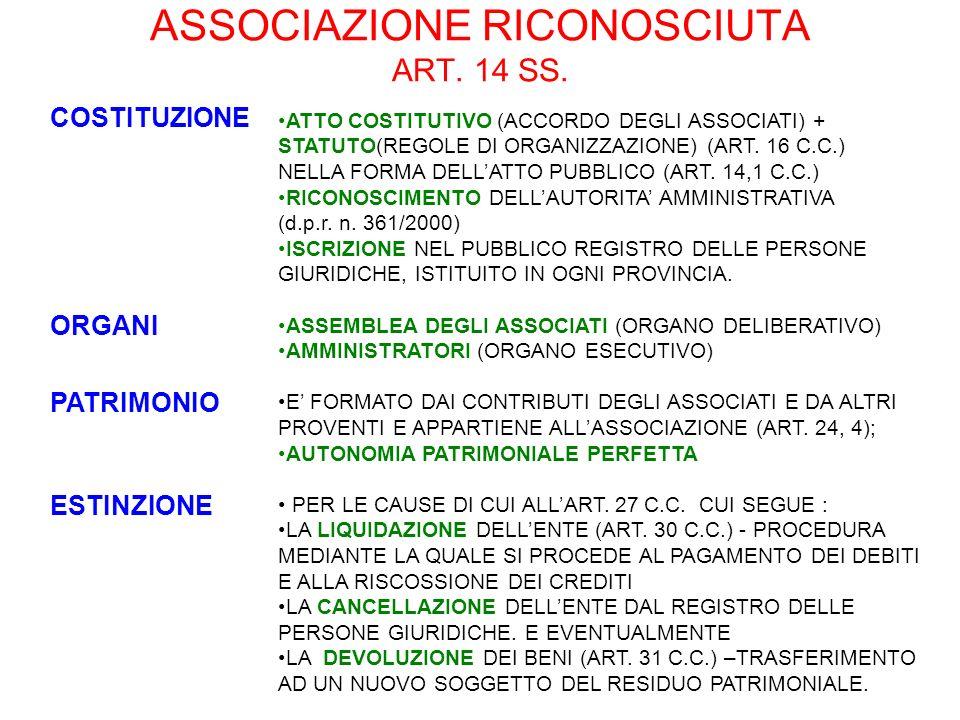 ASSOCIAZIONE RICONOSCIUTA ART. 14 SS.