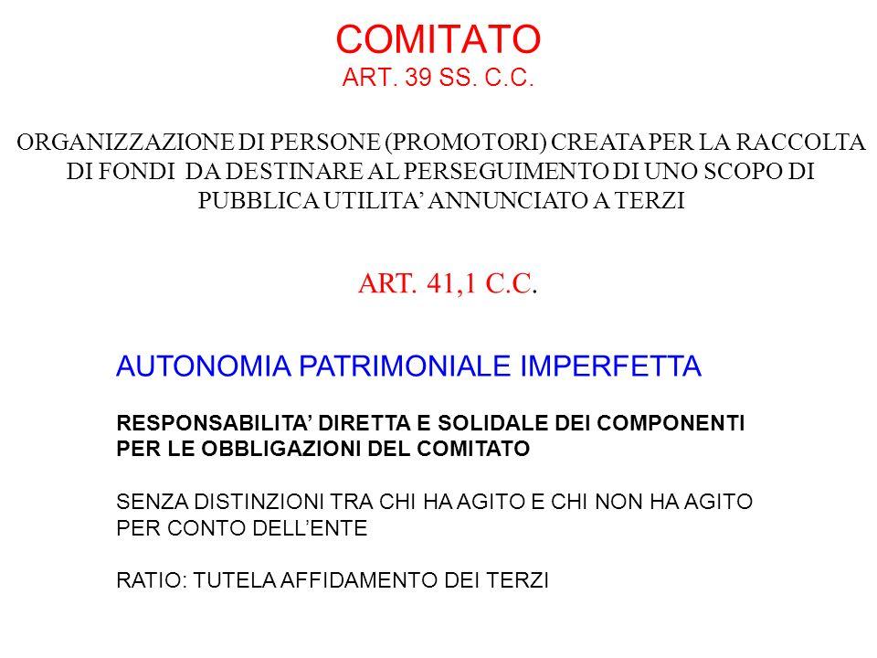 COMITATO ART. 39 SS. C.C. ART. 41,1 C.C.