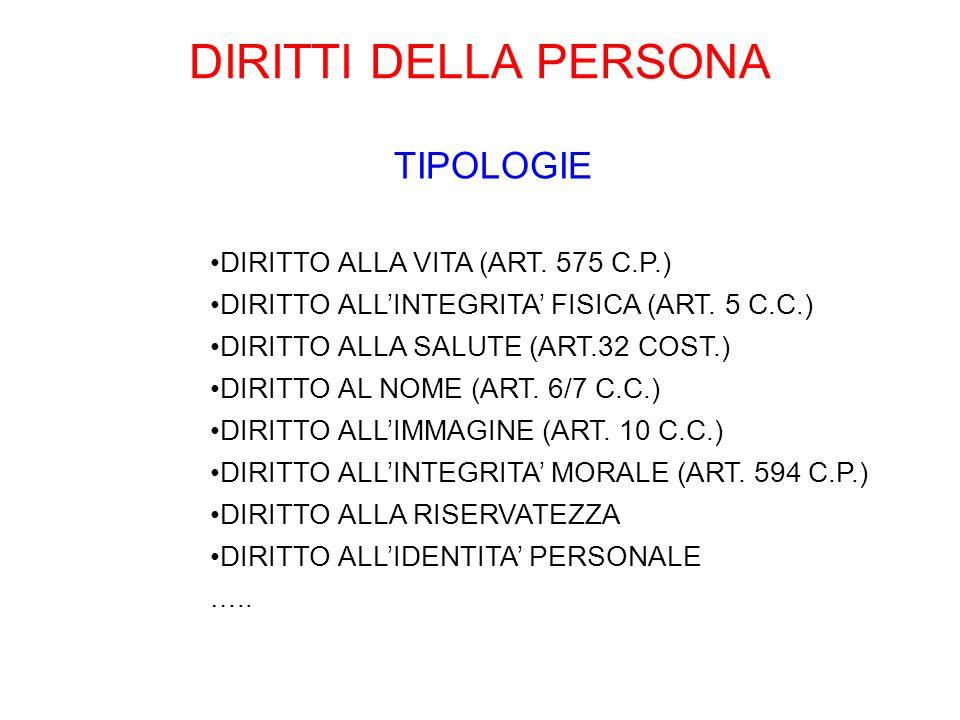 DIRITTI DELLA PERSONA TIPOLOGIE DIRITTO ALLA VITA (ART. 575 C.P.)
