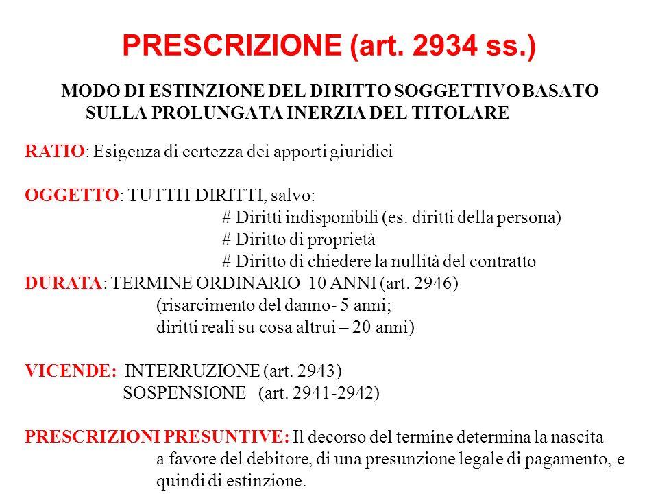 PRESCRIZIONE (art. 2934 ss.) MODO DI ESTINZIONE DEL DIRITTO SOGGETTIVO BASATO SULLA PROLUNGATA INERZIA DEL TITOLARE.