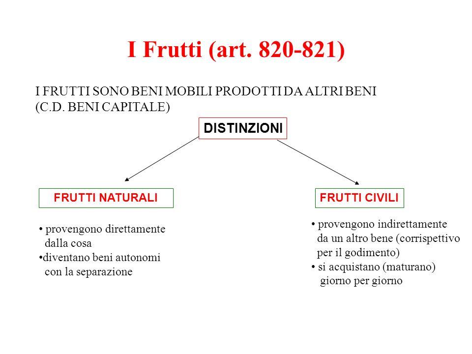 I Frutti (art. 820-821) I FRUTTI SONO BENI MOBILI PRODOTTI DA ALTRI BENI. (C.D. BENI CAPITALE) DISTINZIONI.