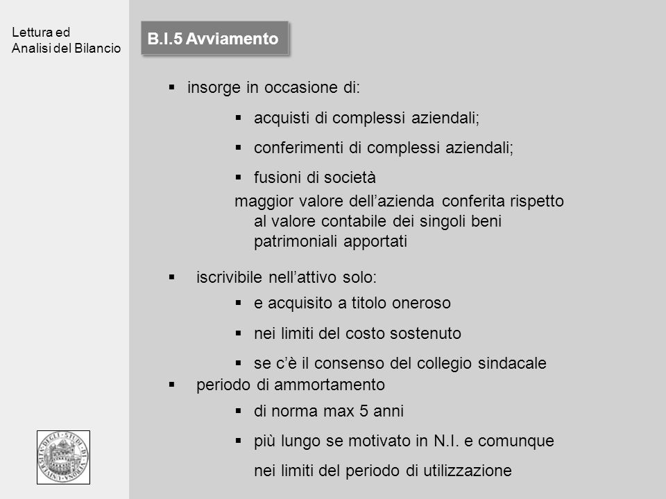 B.I.5 Avviamentoinsorge in occasione di: acquisti di complessi aziendali; conferimenti di complessi aziendali;