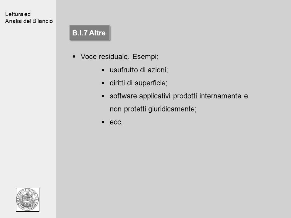 B.I.7 AltreVoce residuale. Esempi: usufrutto di azioni; diritti di superficie;