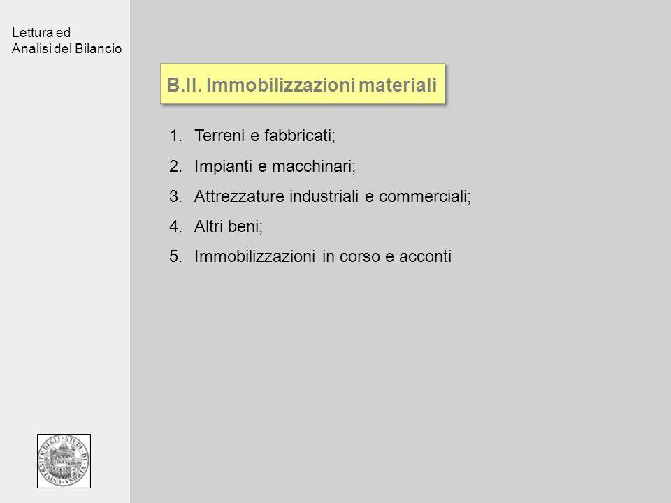 B.II. Immobilizzazioni materiali