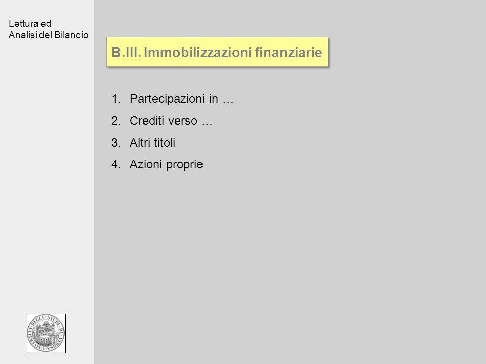 B.III. Immobilizzazioni finanziarie