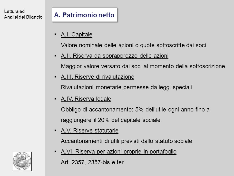 A. Patrimonio netto A.I. Capitale