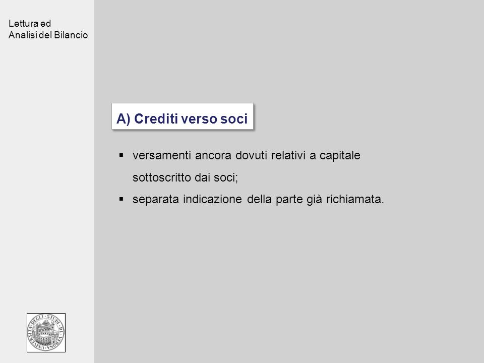 A) Crediti verso sociversamenti ancora dovuti relativi a capitale sottoscritto dai soci; separata indicazione della parte già richiamata.