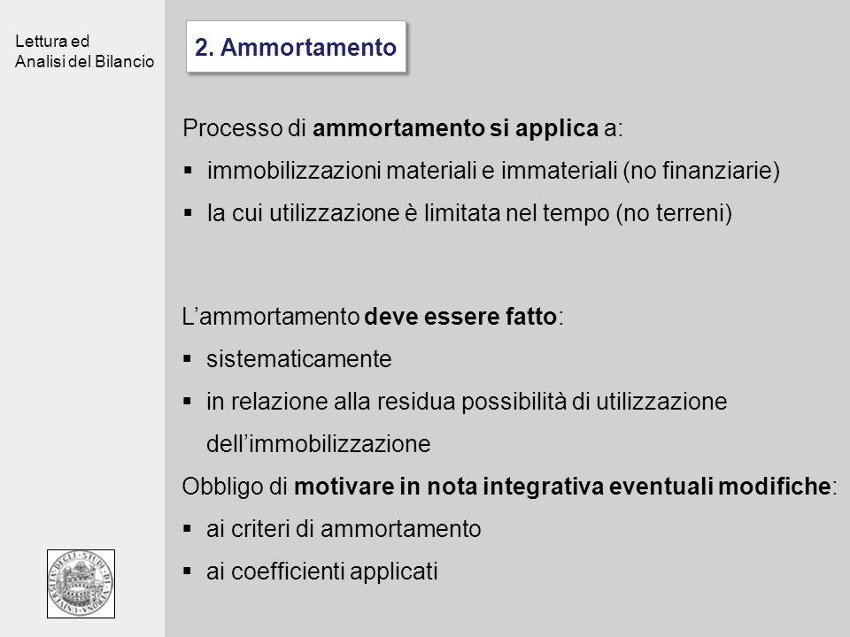 2. Ammortamento Processo di ammortamento si applica a: immobilizzazioni materiali e immateriali (no finanziarie)