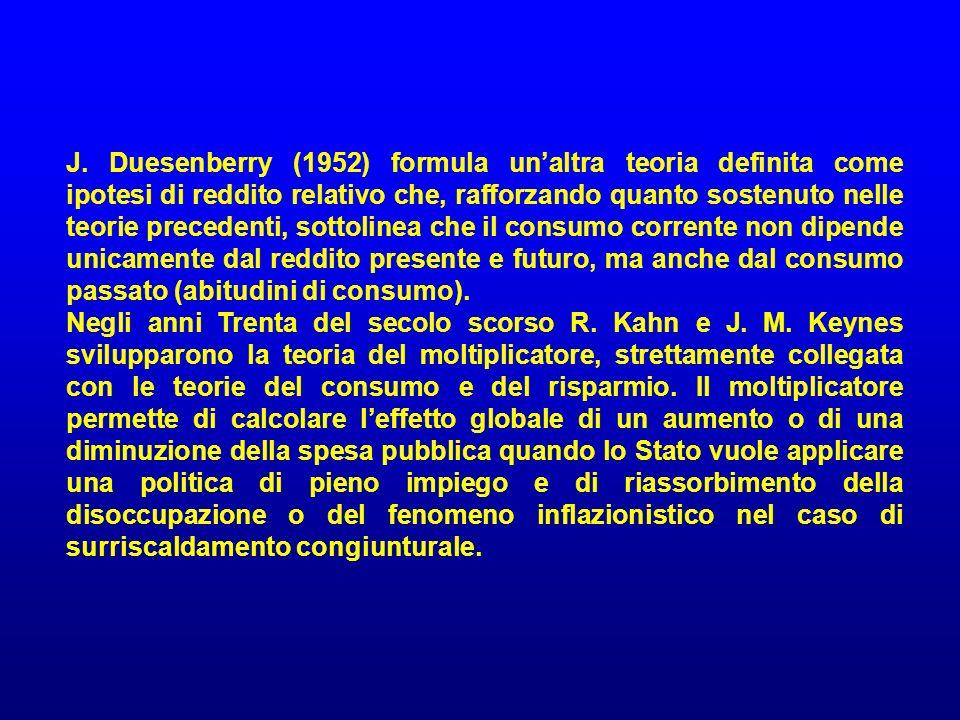 J. Duesenberry (1952) formula un'altra teoria definita come ipotesi di reddito relativo che, rafforzando quanto sostenuto nelle teorie precedenti, sottolinea che il consumo corrente non dipende unicamente dal reddito presente e futuro, ma anche dal consumo passato (abitudini di consumo).