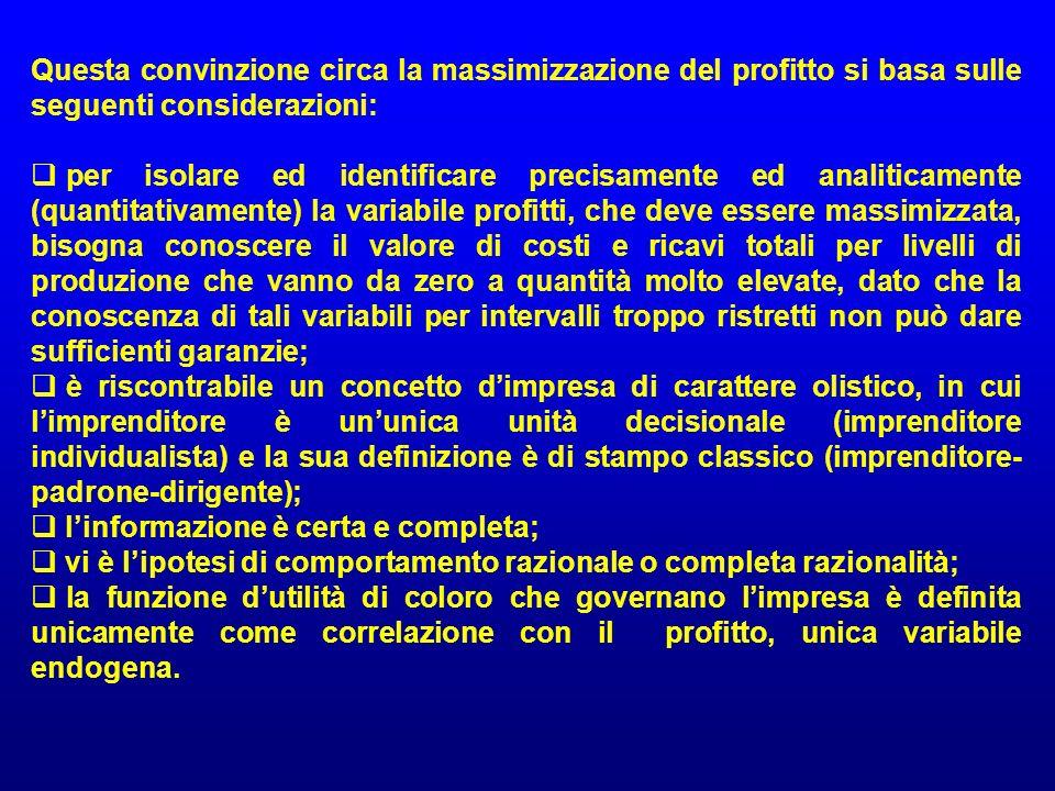 Questa convinzione circa la massimizzazione del profitto si basa sulle seguenti considerazioni:
